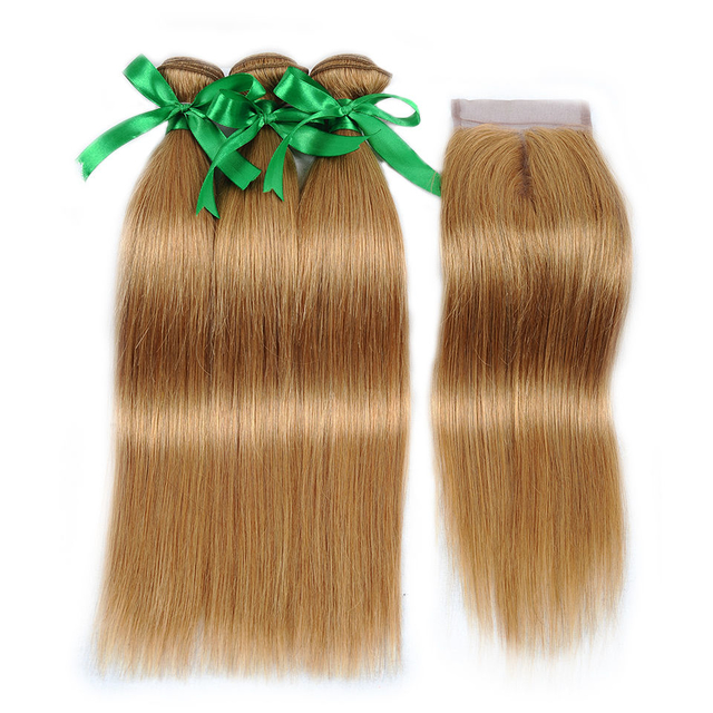 Vvwig #27 Hair Brazilian Unprocessed Hair Straight Hair 3 Bundles With Closure 4*4 Inch Lace Tangle And Shedding Free