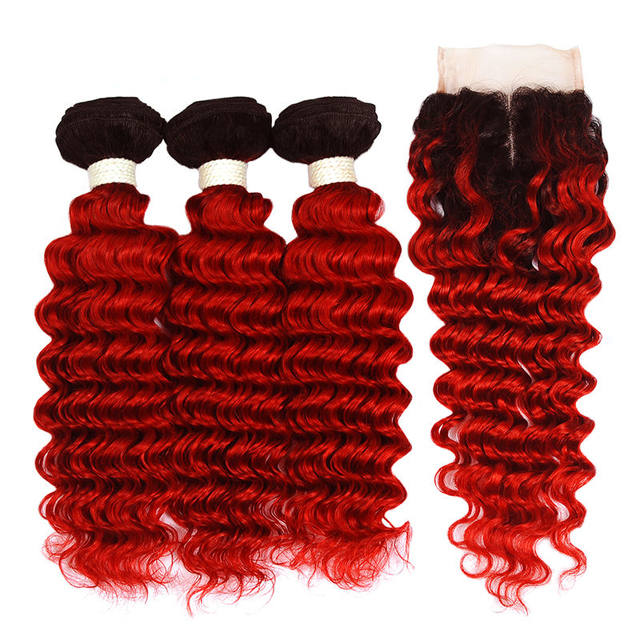 Vvwig No Smell 1B Red Ombre Hair 3 Bundles With Closure Brazilian Deep Curly Hair Natural Feeling Soft And Easy To Style - Vvwig.com