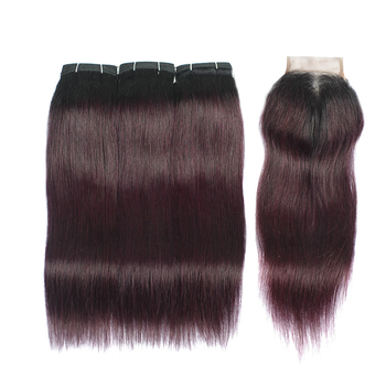 Vvwig Soft Smooth 1B Grape Purple Ombre Hair Good Feeling Brazilian Premium Straight Hair 3 Bundles With Closure - Vvwig.com