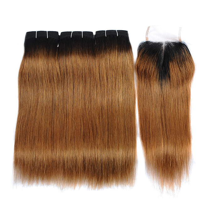 Vvwig 1B 30 Ombre Hair Brazilian 100 Unprocessed Hair 10A Grade Super Soft Straight Hair 3 Bundles With Closure No Tangle - Vvwig.com