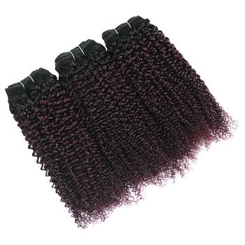 Vvwig Healthy 1B 135 Ombre Hair Indian No Smell Soft Smooth Kinky Curly Hair 3 Bundles With Closure - Vvwig.com
