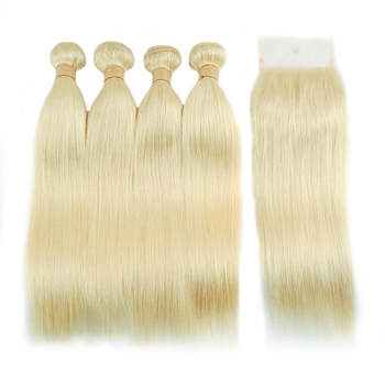 Vvwig Soft Smooth Good Feeling 613 Indian Straight Hair 4 Bundles With Closure 4*4 Inch Lace Soft And Easy To Style - Vvwig.com