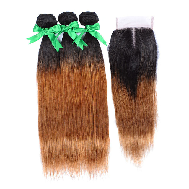 Vvwig Unprocessed Hair 1B 30 Ombre Hair Indian Straight Human Hair 3 Bundles With Closure No Chemical No Smell