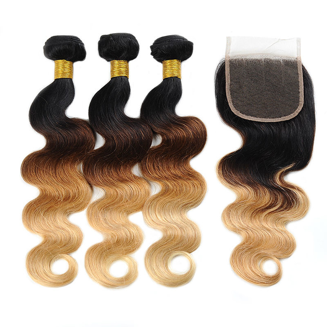 Vvwig Smooth Touch 1B 30 27 Ombre Hair Premium Body Wave Hair 3 Bundles With Closure 100% Human Hair