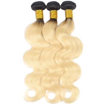 Vvwig 1B 613 Blonde Hair Ombre Color No Smell Soft Smooth Body Wave Hair 3 Bundles With Closure 4*4 Inch Lace - Vvwig.com