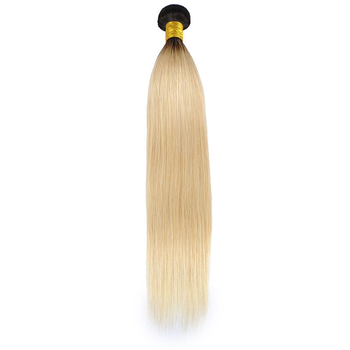 Vvwig Ombre Hair 1B 613 Blonde Hair Tangle Free Straight Human Hair Weave 3 Bundles With Closure - Vvwig.com
