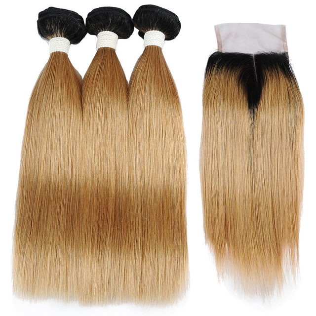 Vvwig Natural Looking 1B 27 Ombre Hair Breathable 3 Bundles With Closure Indian Straight Human Hair Smooth Touch