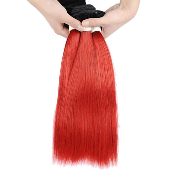Vvwig Smooth Touch #1 Red Ombre Hair Straight Virgin Human Hair 3 Bundles With Closure Soft And Easy To Style - Vvwig.com