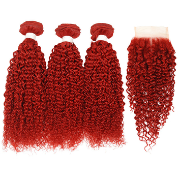 Vvwig Fashion Soft Smooth Premium Red Hair Jerry Curly Virgin Human Hair 3 Bundles With Closure - Vvwig.com