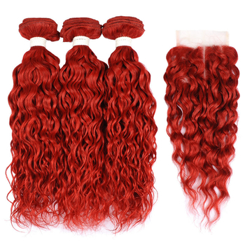 Vvwig No Tangle Soft Smooth Premium Virgin Hair Red Hair Indian Water Wave Hair 3 Bundles With Closure - Vvwig.com