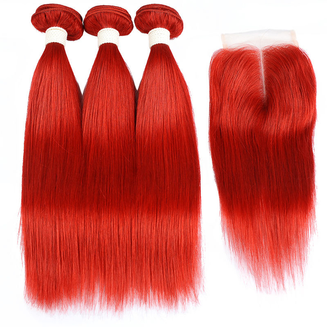 Vvwig No Shed No Tangle Red Hair Virgin Hair 3 Bundles With Closure Straight 100% Human Hair - Vvwig.com