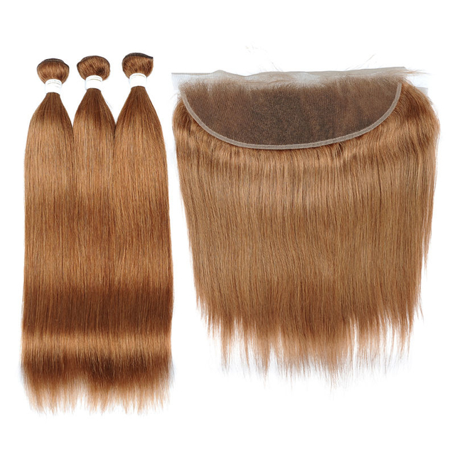 Vvwig Good Feeling 30 Straight Hair Brazilian Human Hair 3 Bundles With Frontal 13*4 Inch Lace No Shed No Oiled - Vvwig.com