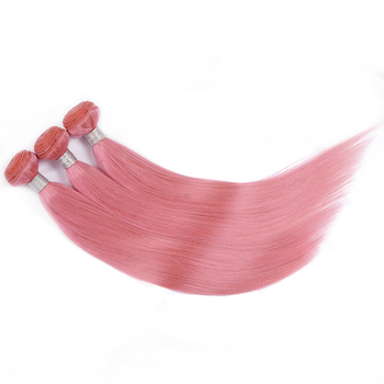 Vvwig Pink Color Unprocessed Hair 100% Human Hair 3 Bundles With Closure Straight Hair Breathable And Comfortable - Vvwig.com