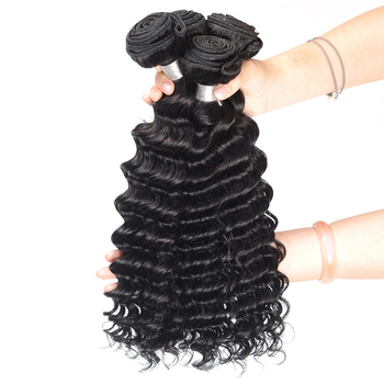 Vvwig Natural Looking Natural Black Deep Wave Hair Soft Smooth Human Hair 3 Bundles With Closure - Vvwig.com