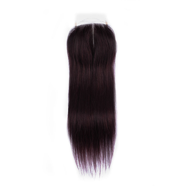 Vvwig Grape Purple Malaysian 4*4 Inch Lace Closure Good Feeling Virgin Human Hair Straight Hair Good Lace Closure