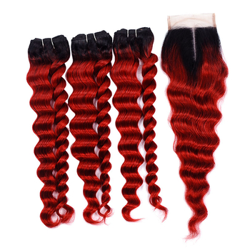 Vvwig Premium 1B Red Ombre Hair 3 Bundles With Closure Indian Loose Deep Wave Hair Good Feeling Unprocessed Hair - Vvwig.com