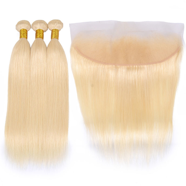 Vvwig Premium 613 Straight Hair Human Hair 3 Bundles With Frontal 13*4 Inch Lace 100 Unprocessed Hair 10A Grade - Vvwig.com