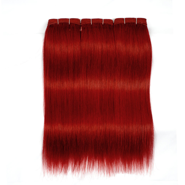 Vvwig Red Color Virgin Hair Straight Bundles No Shedding No Tangle Human Hair Extensions 3 Bundles - Vvwig.com