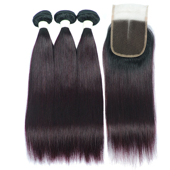 Vvwig 1B/Grape Purple Shiny Human Hair Malaysian Natural Feeling 3 Bundles With Straight Hair Closure No Chemical - Vvwig.com