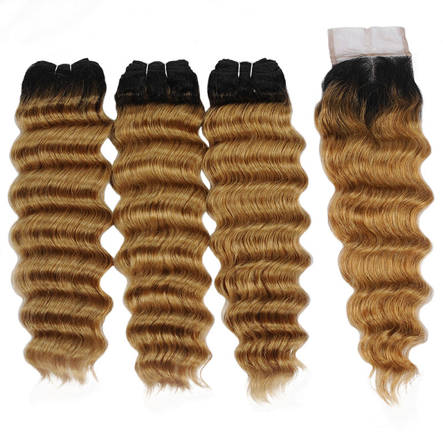 Vvwig Shiny 1B 27 Ombre Hair Loose Deep Wave Smooth Touch Virgin Hair 3 Bundles With Closure No Smell - Vvwig.com