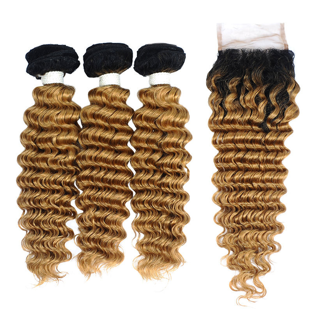 Vvwig Brazilian Unprocessed Hair 10A Grade 1B 27 Ombre Hair Premium 3 Bundles With Deep Wave Closure