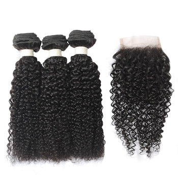 Vvwig Good Feeling Natural Black Kinky Curly Peruvian Hair 3 Bundles With Closure 4*4 Inch Lace No Chemical No Smell - Vvwig.com