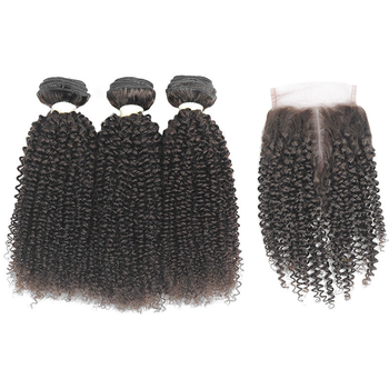 Vvwig #2 Premium Peruvian Hair Jerry Curly Hair Human Hair Extensions Soft Smooth 3 Bundles With Closure - Vvwig.com