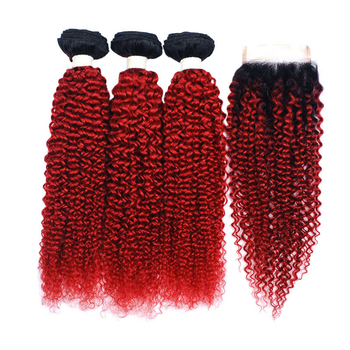Vvwig 1B Red Ombre Hair Indian Jerry Curly Weave Hair Good Feeling 3 Bundles With Closure Unprocessed Hair - Vvwig.com