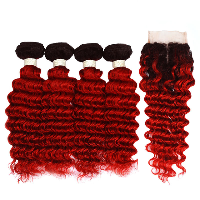 Vvwig 1B Red Ombre Color Deep Wave Hair Indian 100% Human Hair Good Feeling 4 Bundles With Closure