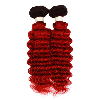 Vvwig 1B Red Ombre Color Deep Wave Hair Indian 100% Human Hair Good Feeling 4 Bundles With Closure - Vvwig.com