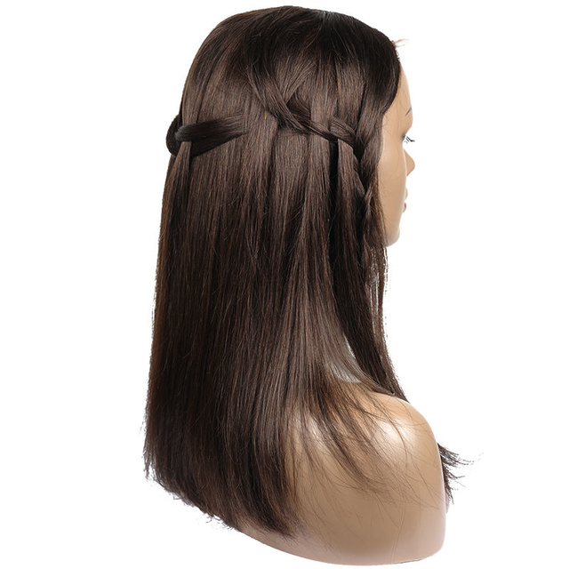 Vvwig 2# Dark Brown Silky Shine Straight Wigs Pure Human Hair Lace Front Wigs With Hand-tied Lace