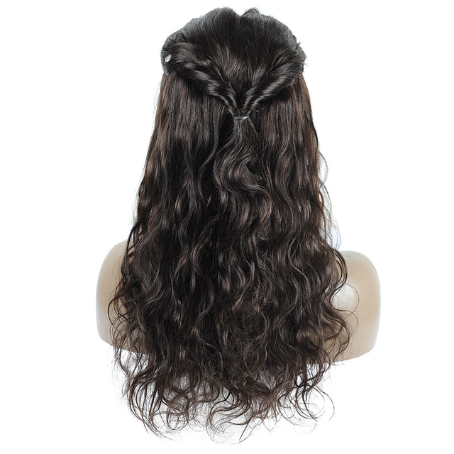 Vvwig Off Black Or Dark Brown Color Natural Wave Wigs Natural Hairline 100% Human Hair Lace Front Wigs