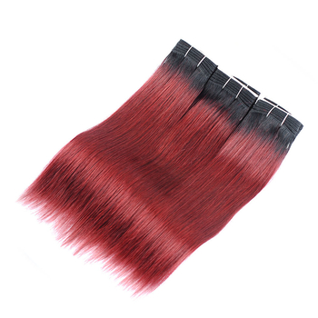 Vvwig 1B 99J Ombre Hair No Shed Straight Bundles Human Hair True To Length Indian Virgin Hair 3 Bundles - Vvwig.com