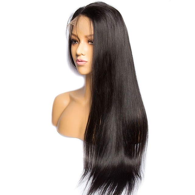 Vvwig Natural Looking 1B Hair Color Soft Long Silky Straight Lace Wigs Natural Hairline 10-24 Inch Human Hair 360 Lace Wig