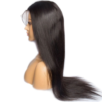 Vvwig Natural Looking 1B Hair Color Soft Long Silky Straight Lace Wigs Natural Hairline 10-24 Inch Human Hair 360 Lace Wig - Vvwig.com