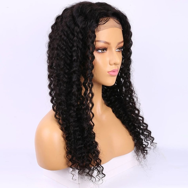 Vvwig Pre-Made Fake Scalp Wig Natural Black Deep Curly Wigs 13x4 Lace Wig Remy Hair Lace Front Wigs 150 Density