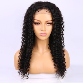 Vvwig Pre-Made Fake Scalp Wig Natural Black Deep Curly Wigs 13x4 Lace Wig Remy Hair Lace Front Wigs 150 Density - Vvwig.com