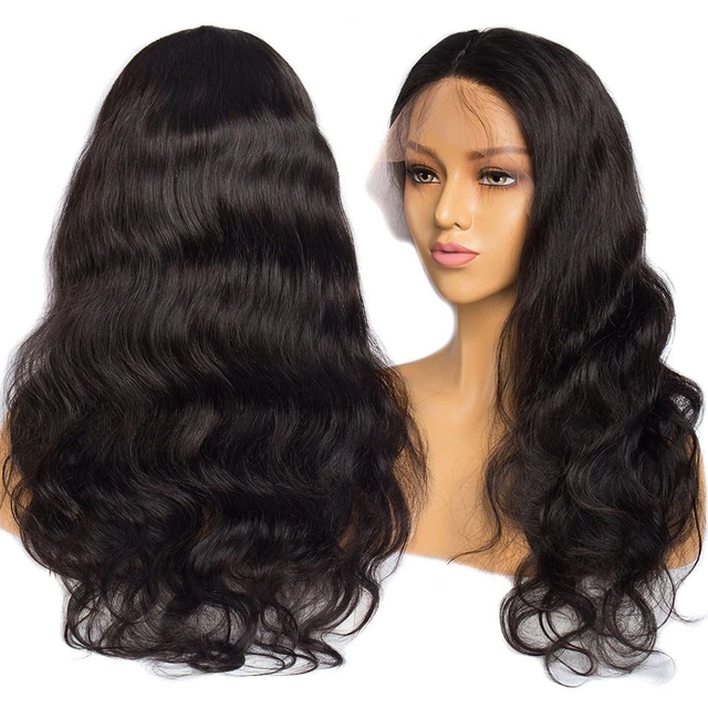 Vvwig Natural Looking Natural Black Malaysian Body Wave Wigs 150 Density Remy Hair Breathable 360 Lace Wig