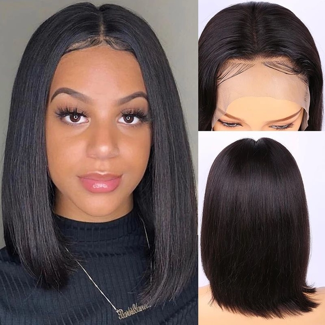 Vvwig Natural Hair Colors Peruvian Straight Wigs Pre Plucked Natural Hairline Human Hair Lace Front Bob Wigs