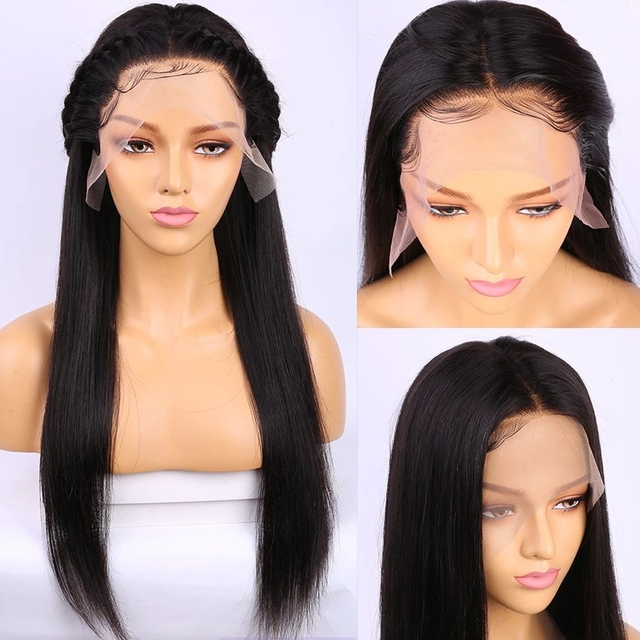 Vvwig Natural Black Peruvian Human Hair Lace Front Wigs 10-24 inch Straight Wigs Pre Made Glueless 13x4 Lace Wig