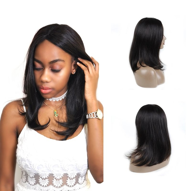 Vvwig 1B Hair Color Natural Hairline Pre Made Glueless Straight Wigs Human Hair Lace Front Wigs For Women