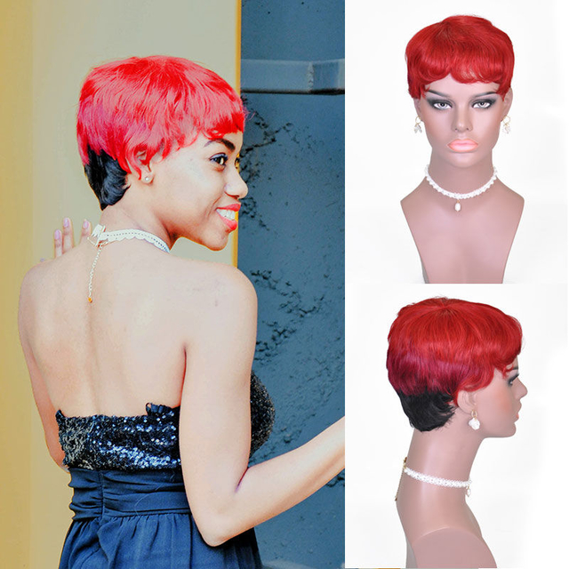 Vvwig Ombre Hair Colorful Wigs Comfortable Short Straight Wigs Pre Made Glueless Human Hair Lace Front Wigs