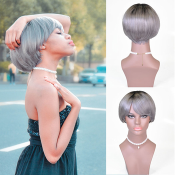 Vvwig Ombre Granny Grey Colorful Wigs Short Silky Straight Wigs Realistic Human Hair Lace Front Wigs - Vvwig.com