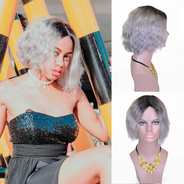 Vvwig Ombre Grey Colorful Wigs Soft Smooth Body Wave Wigs Short Human Hair Lace Front Bob Wigs With Hand-tied Lace