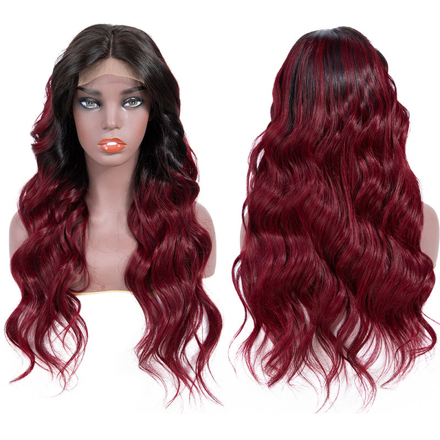 Vvwig 1B 99J Ombre Color Virgin Hair Body Wave Wigs 150% Density Soft Long Human Hair Lace Front Wigs - Vvwig.com