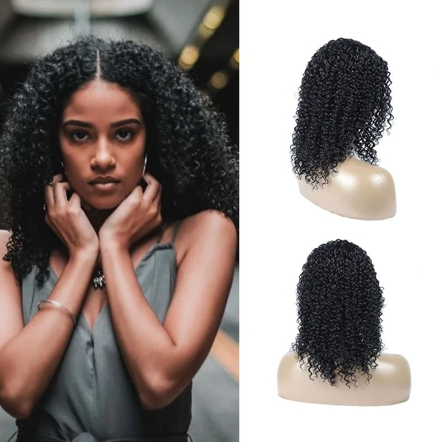 Vvwig Virgin Hair Kinky Curly Wigs 1B Hair Color Pre Plucked Natural Hairline 100% Human Hair Lace Front Wigs