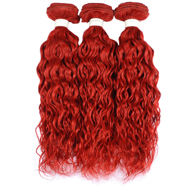 Vvwig 3 Bundles Red Hair Water Wave Bundles Indian Human Hair Bouncy / Shiny And Texture Well Held