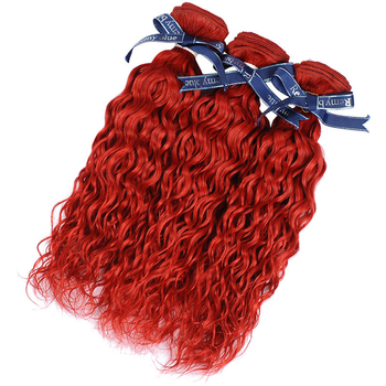 Vvwig 3 Bundles Red Hair Water Wave Bundles Indian Human Hair Bouncy / Shiny And Texture Well Held - Vvwig.com