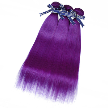 Vvwig Purple Color Straight Bundles Virgin Hair Soft Smooth 3 Bundles Human Hair Extensions No Shed - Vvwig.com