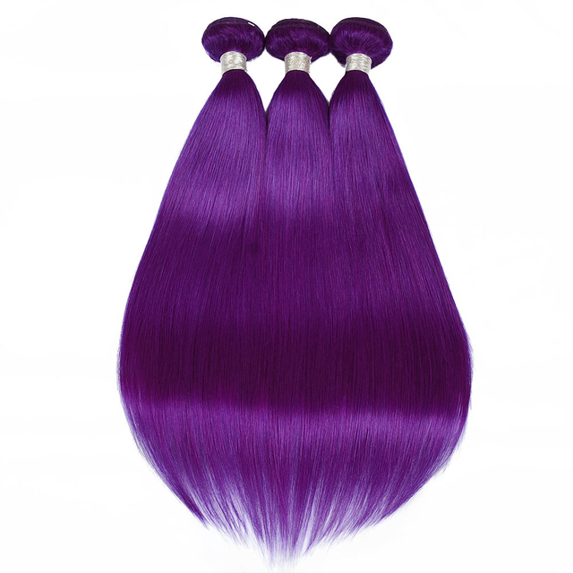 Vvwig Purple Color Straight Bundles Virgin Hair Soft Smooth 3 Bundles Human Hair Extensions No Shed
